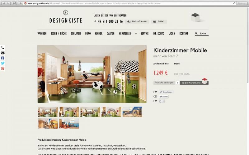 Design Kiste Onlineshop Produktansicht