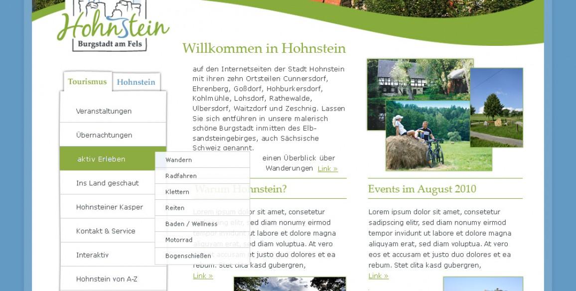 Website der Stadt Hohnstein, Sächsische Schweiz