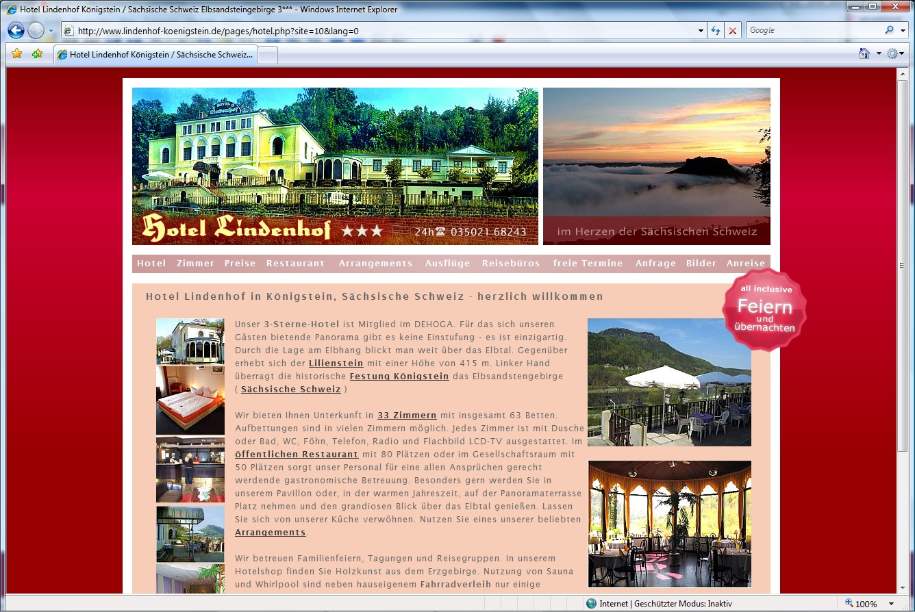 Webdesign Relaunch Hotel Lindenhof in Königstein