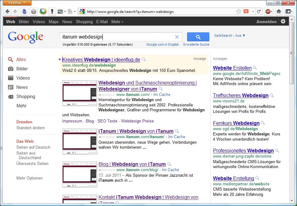 Firefox Suche im Adressfeld