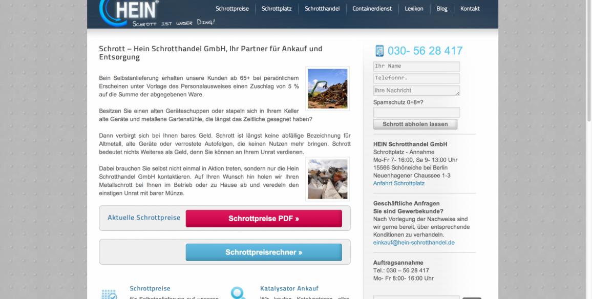 Hein Schrotthandel GmbH Berlin, Webdesign mit WordPress