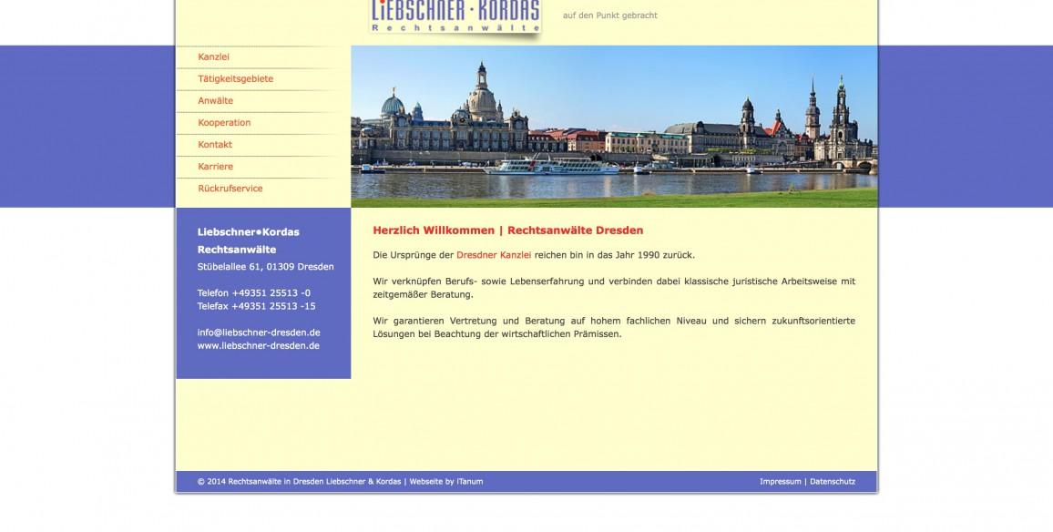 Liebschner Kordas Rechtsanwälte, Website mit CMS