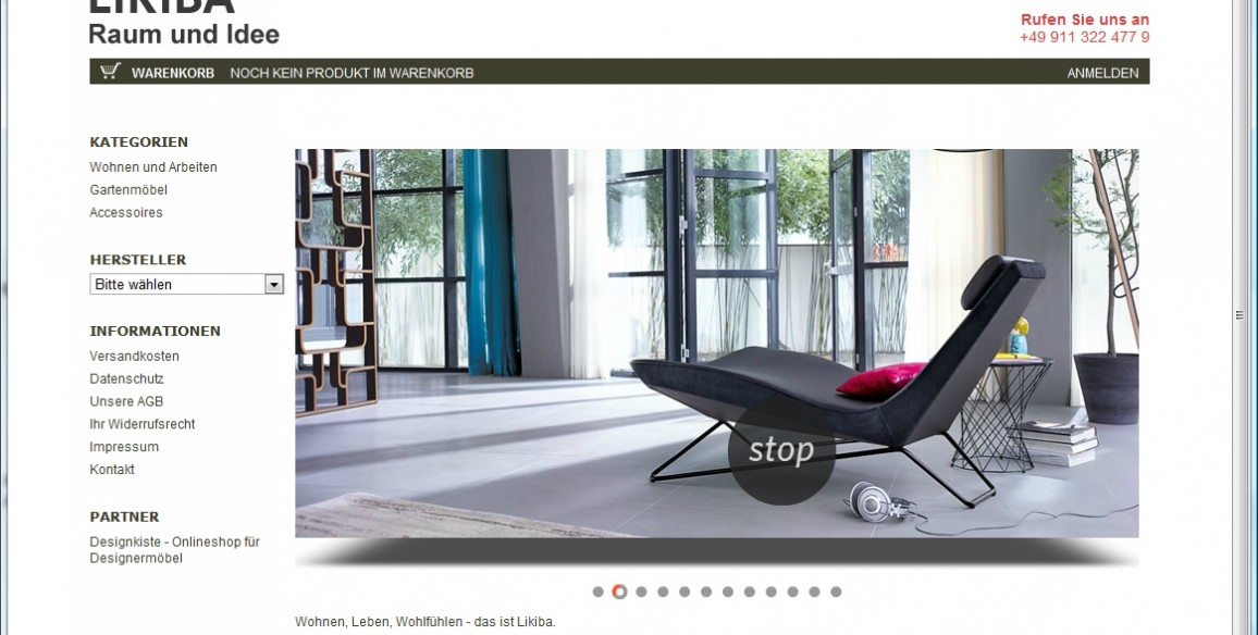 Onlineshop für exklusive Designermöbel, Likiba