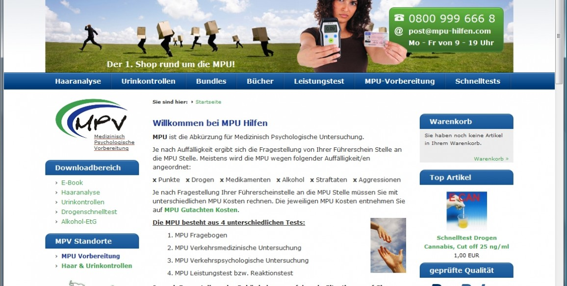 Onlineshop für MPU Hilfen