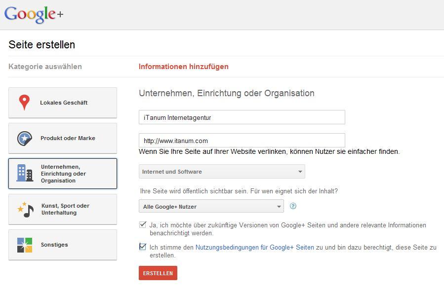 Google + nun auch für Unternehmen