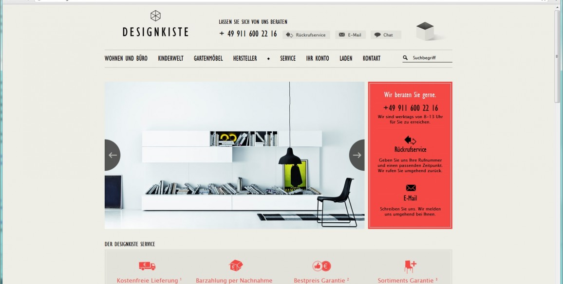 Onlineshop Webdesign Relaunch für Design-Kiste.de