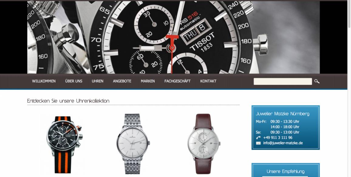 Onlineshop Erstellt für Juwelier Matzke in Nürnberg