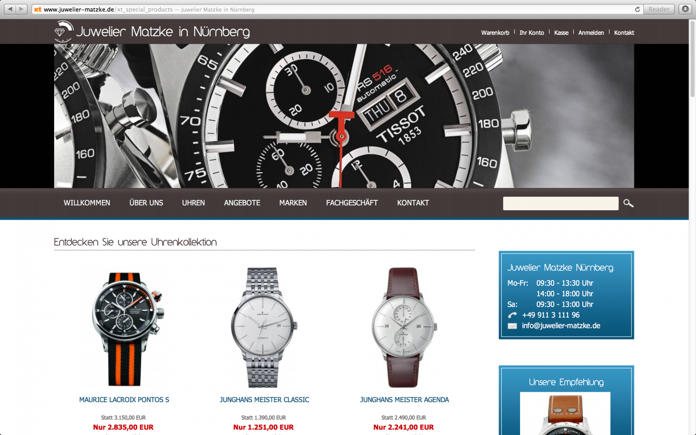Juwelier online shop  Onlineshop erstellt für Juwelier Matzke in Nürnberg •