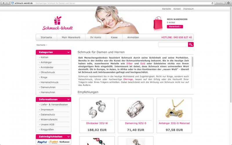 Onlineshop Schmuck Wendt