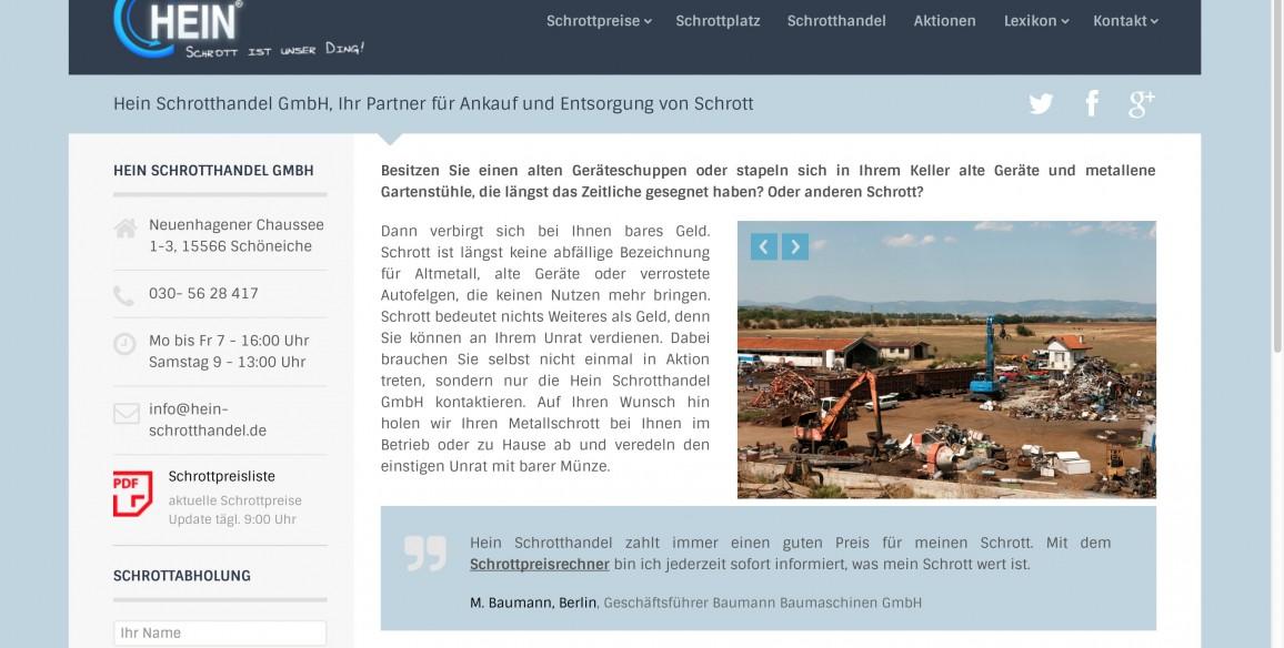 Hein Schrotthandel GmbH, Website Relaunch 2014