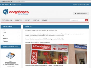 Onlineshop Easyphones DSL & Mobilfunk