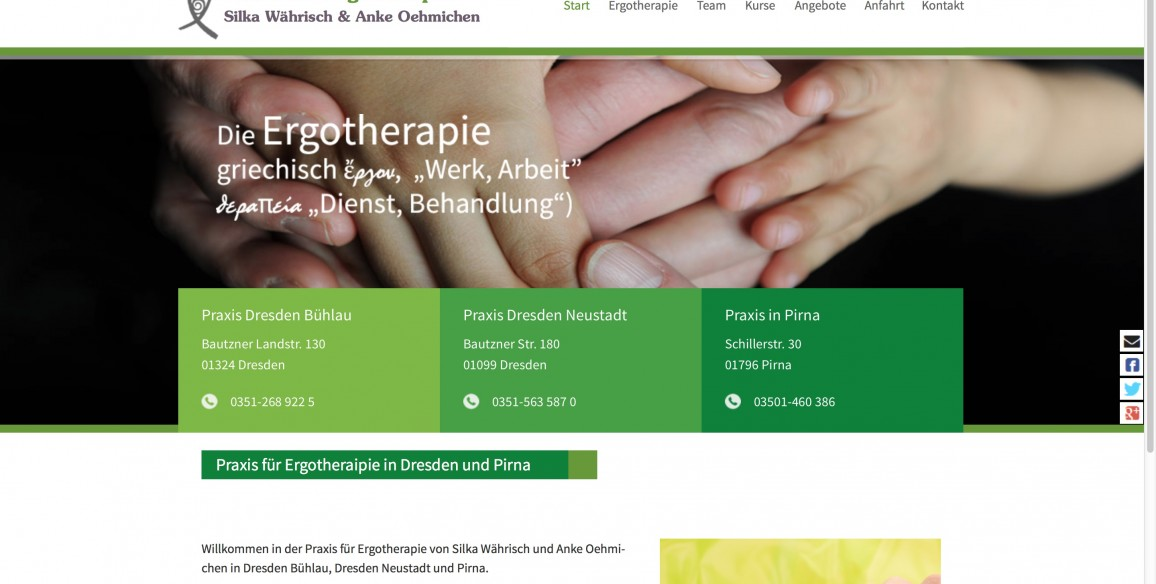 Praxis für Ergotherapie Dresden Pirna, WordPress Website Relaunch