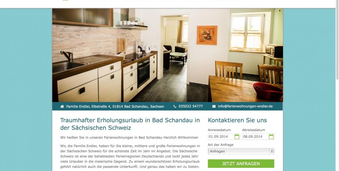 Ferienwohnungen Endler in Bad Schandau, responsive Webdesign