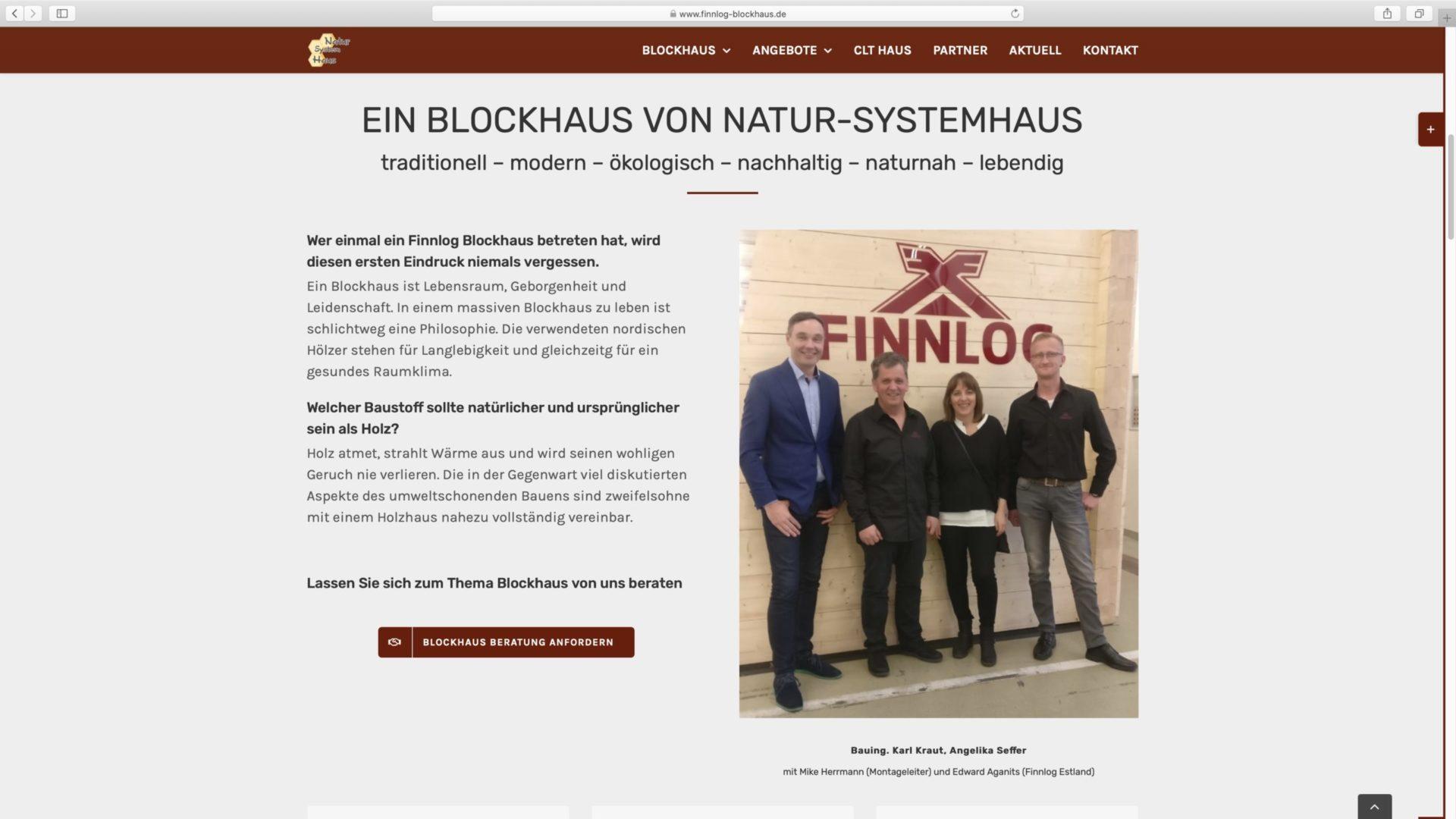 Webdesign Finnlog Holzhaus
